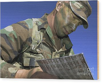 U.s. Air Force Lieutenant Reviews Wood Print by Stocktrek Images