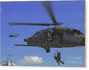 U.s. Air Force Pararescuemen Wood Print by Stocktrek Images