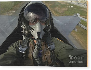 U.s. Air Force Pilot Looking For Nearby Wood Print by Stocktrek Images