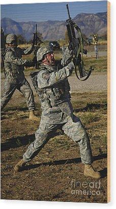 U.s. Air Force Soldier Practices Wood Print by Stocktrek Images