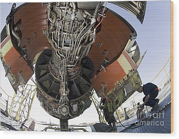 U.s. Air Force Technician Hydraulically Wood Print by Stocktrek Images