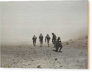 U.s. Army Captain Provides Security Wood Print by Stocktrek Images
