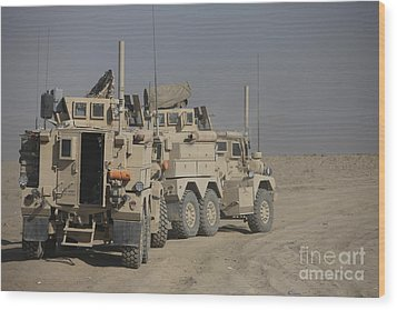 U.s. Army Cougar Mrap Vehicles Wood Print by Terry Moore