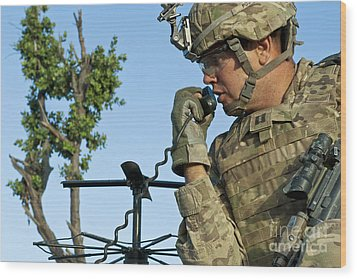 U.s. Army Soldier Calls For Indirect Wood Print by Stocktrek Images