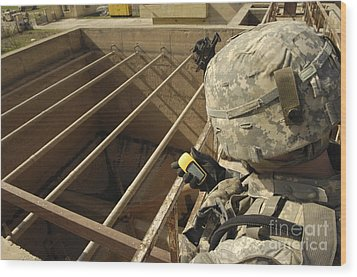 U.s. Army Soldier Takes A Gps Grid Wood Print by Stocktrek Images