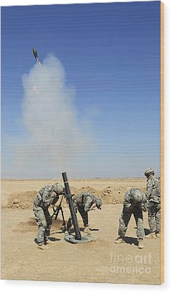 U.s. Army Soldiers Firing An M120 120mm Wood Print by Stocktrek Images