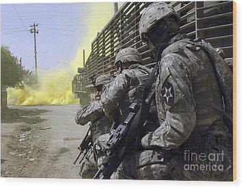 U.s. Army Soldiers Using Smoke Grenades Wood Print by Stocktrek Images