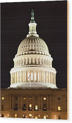 Wood Print featuring the photograph Us Capitol At Night by Pravine Chester