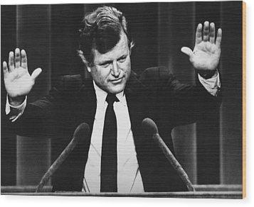 Us Elections. Us Senator Edward Kennedy Wood Print by Everett