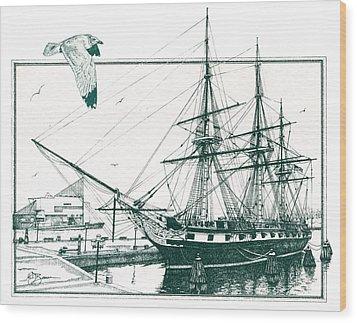 Us Frigate Constellation Wood Print by John D Benson