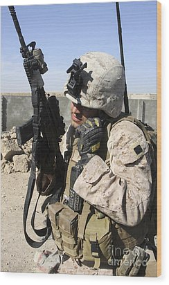 U.s. Marine Communicates With Fellow Wood Print by Stocktrek Images