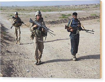 U.s. Marines And Afghan National Police Wood Print by Stocktrek Images