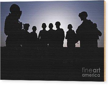 U.s. Marines And Civilian Contractors Wood Print by Stocktrek Images