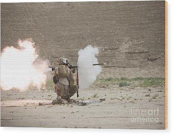 U.s. Marines Fire A Rpg-7 Grenade Wood Print by Terry Moore