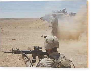 U.s. Marines Fire Several Wood Print by Stocktrek Images