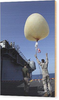 U.s. Marines Launch A Combat Skysat Wood Print by Stocktrek Images