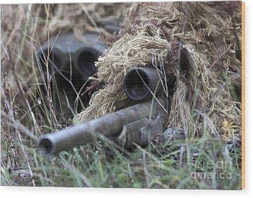 U.s. Marines Practice Stalking Wood Print by Stocktrek Images