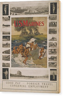 U.s. Marines Recruitment Poster Showing Wood Print by Everett