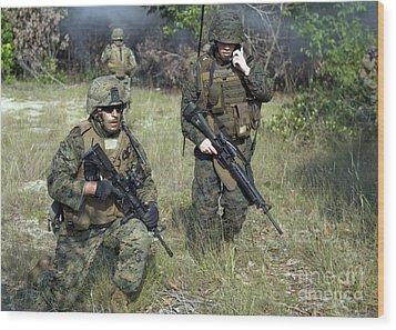 U.s. Marines Secure A Perimeter Wood Print by Stocktrek Images
