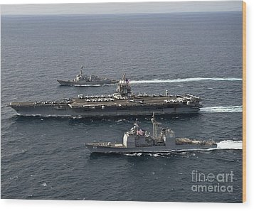 U.s. Navy Ships Transit The Atlantic Wood Print by Stocktrek Images
