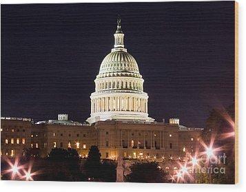 Us Senate Wood Print by Syed Aqueel