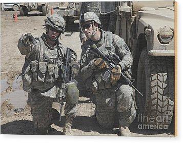 U.s. Soldiers Coordinate Security Wood Print by Stocktrek Images
