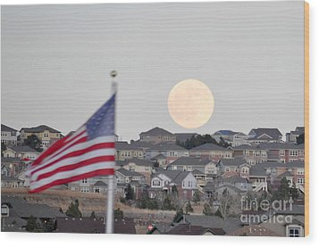 Wood Print featuring the photograph Usa Flag And Moon by Cheryl McClure