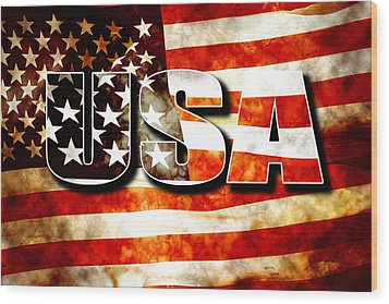 Usa Old Glory Flag Wood Print by Phill Petrovic