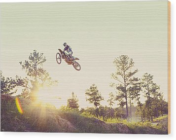Usa, Texas, Austin, Dirt Bike Jumping Wood Print by King Lawrence