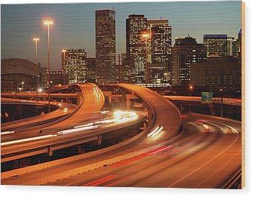 Usa, Texas, Houston City Skyline And Motorway, Dusk (long Exposure) Wood Print by George Doyle