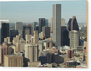 Usa, Texas, Houston, Dwontown, Aerial View Wood Print by George Doyle