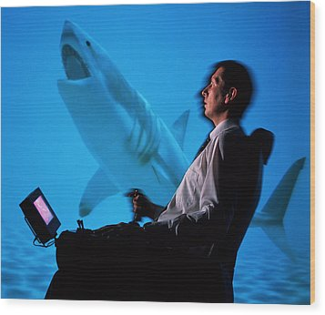 User In Reality Centre Simulator (underwater Set) Wood Print by David Parker