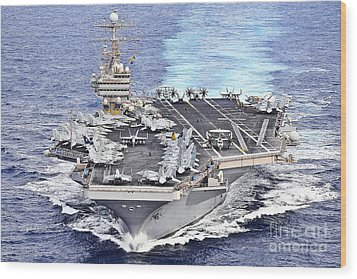 Uss Abraham Lincoln Transits Wood Print by Stocktrek Images