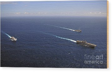 Uss Boxer, Uss Comstock And Uss Green Wood Print by Stocktrek Images