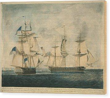 Uss Chesapeake Vs. Hms Shannon Wood Print by Everett