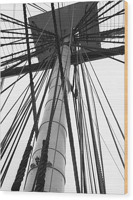 Uss Constitution Mast Wood Print by David Yunker