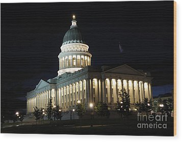 Utah Capitol At Night Wood Print by Gary Whitton