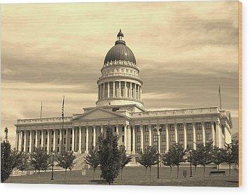 Utah State Capital Wood Print