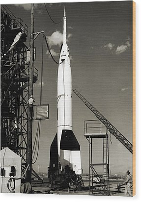 V-2 Bumper Rocket Launch In Usa Wood Print by Detlev Van Ravenswaay