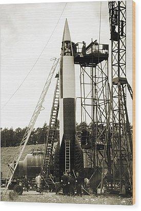 V-2 Prototype Rocket Prior To Launch Wood Print by Detlev Van Ravenswaay