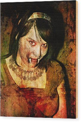 V Girl Wood Print by Nada Meeks