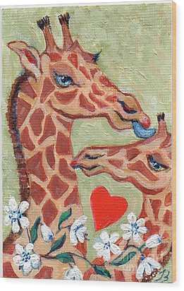 Wood Print featuring the painting Valentine Giraffes by Doris Blessington