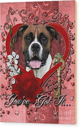 Valentines - Key To My Heart Boxer Wood Print by Renae Laughner
