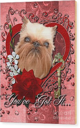Valentines - Key To My Heart Brussels Griffon Wood Print by Renae Laughner