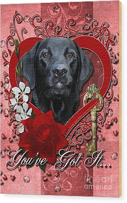 Valentines - Key To My Heart Labrador Wood Print by Renae Laughner