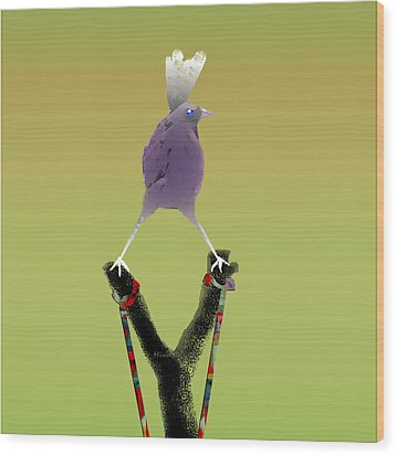 Valiant Bird Wood Print by Asok Mukhopadhyay
