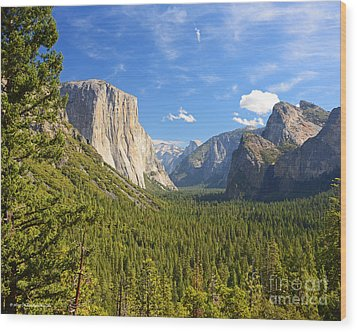 Valley Blue Sky And Clouds Yosemite National Park Wood Print by Nature Scapes Fine Art