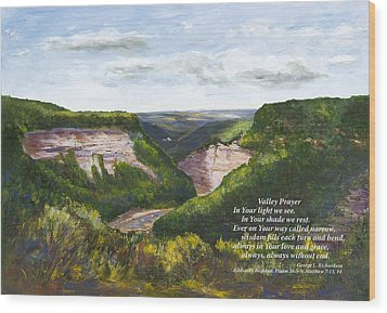 Wood Print featuring the painting Valley Prayer With Poem by George Richardson