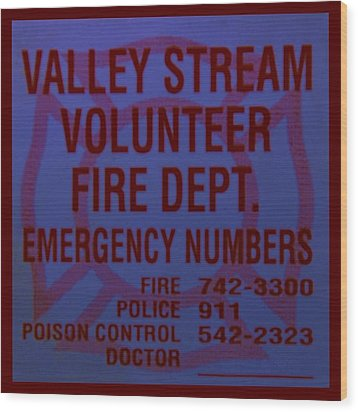 Valley Stream Fire Department In Blue Wood Print by Rob Hans