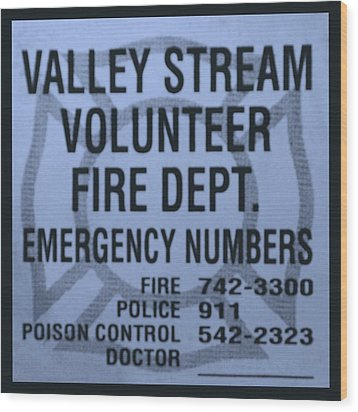 Valley Stream Fire Department In Cyan Wood Print by Rob Hans